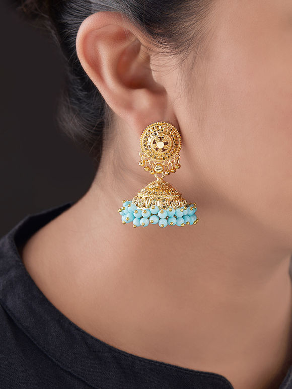 Gold Plated Silver Turquoise Beads Jhumkies