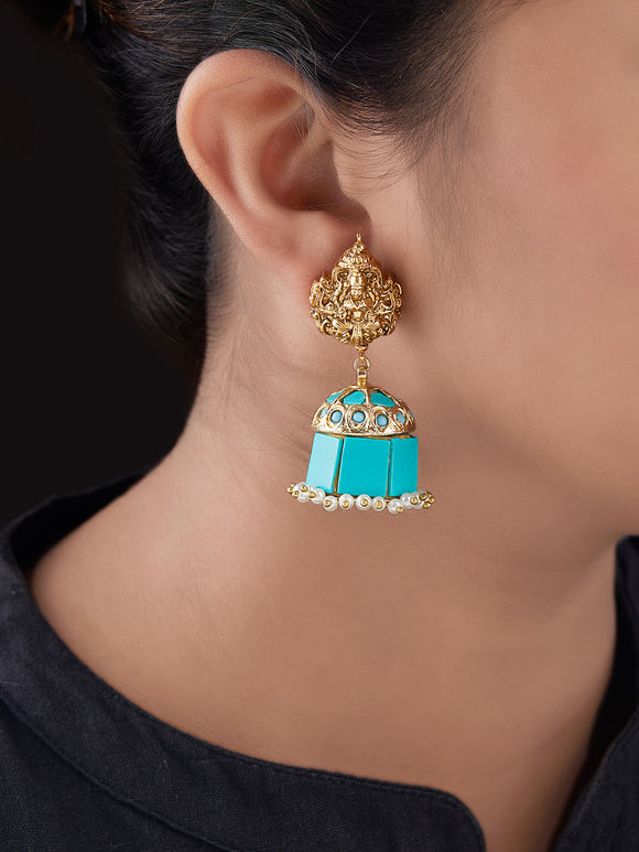 Turquoise Gold Plated Silver Jhumkies