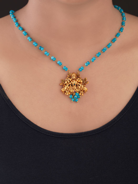 Turquoise Gold Plated Silver Pendant Necklace