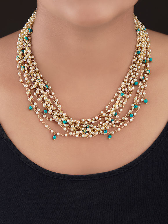 Ivory Turquoise Gold Plated Silver Multistrand Necklace