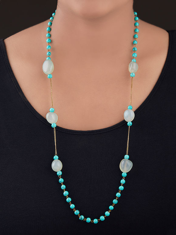 Mint Green Gold Plated Silver Necklace