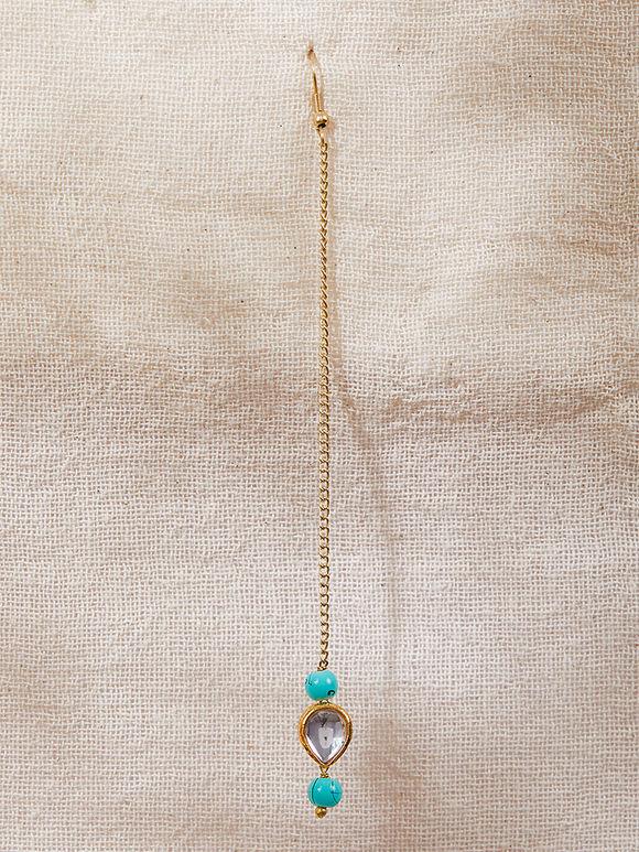 Turquoise Gold Plated Silver Kundan Maangtika