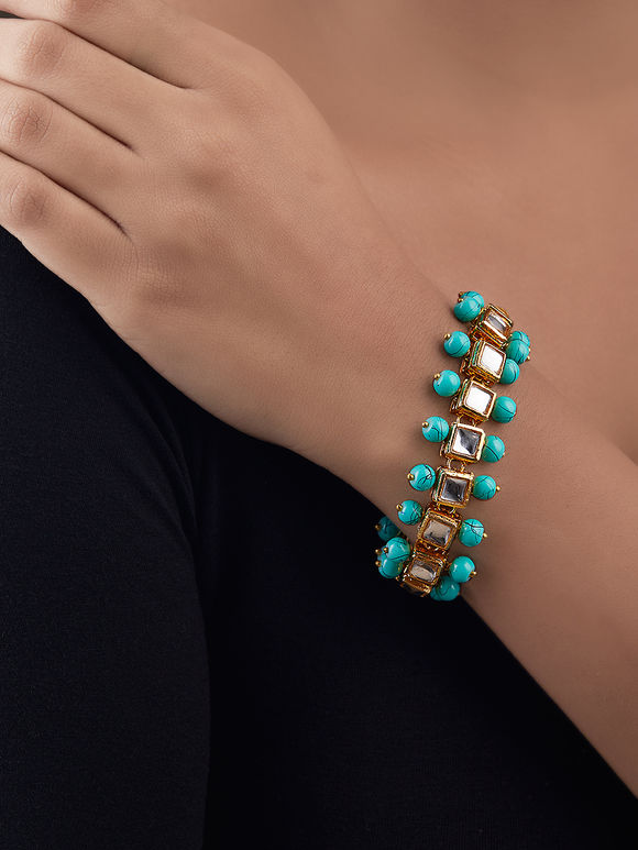 Turquoise Gold Plated Silver Kundan Beaded Bracelet