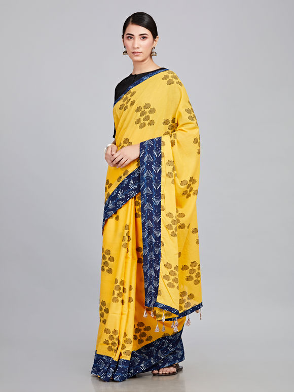 Yellow Hand Block Printed Cotton Mulmul Saree
