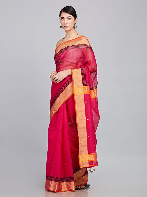 Pink Hand Embroidered Maheshwari Silk Saree