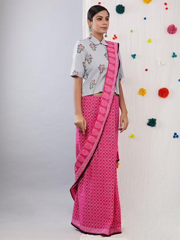 Pink Hand Block Printed Cotton Mulmul Saree
