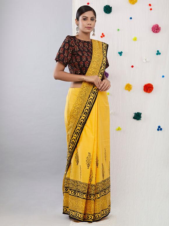 Yellow Black Hand Block Printed Cotton Mulmul Saree