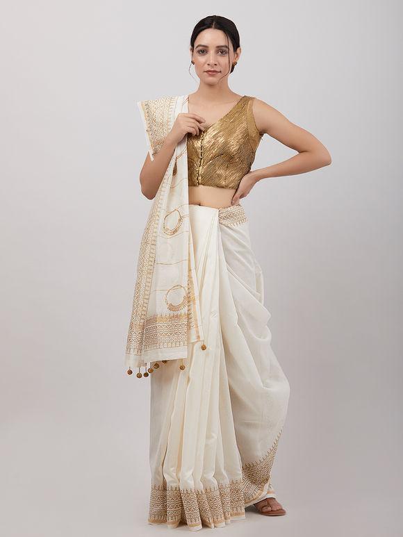 Off White Hand Block Printed Chanderi Silk Saree