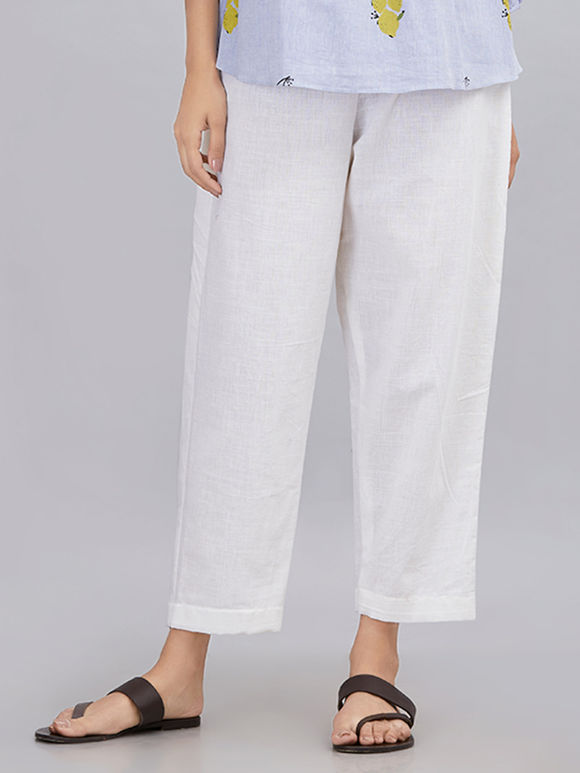 White Khadi Cotton Pants