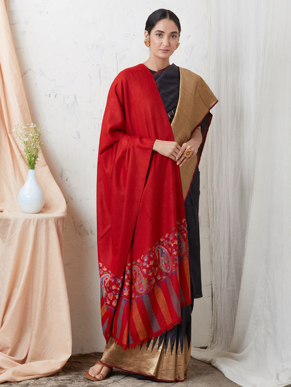Red Kani Border Cashmere Shawl