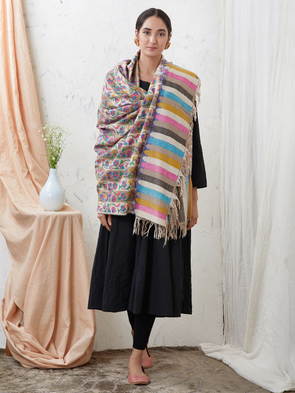 Multicolor Kani Striped Cashmere Shawl