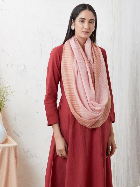 Orange Pink Handwoven Cashmere Pashmina Stole
