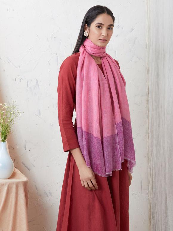 Purple Pink Handwoven Cashmere Pashmina Stole