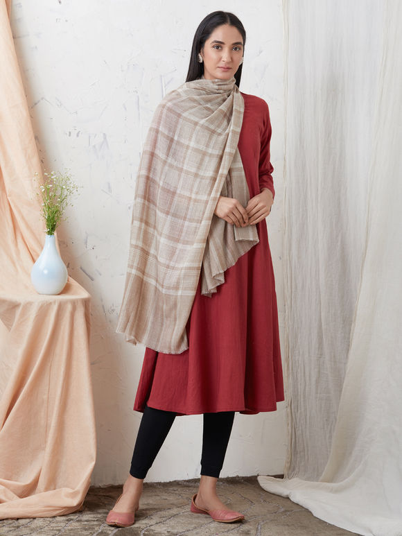 Brown Ivory Handwoven Cashmere Pashmina Stole