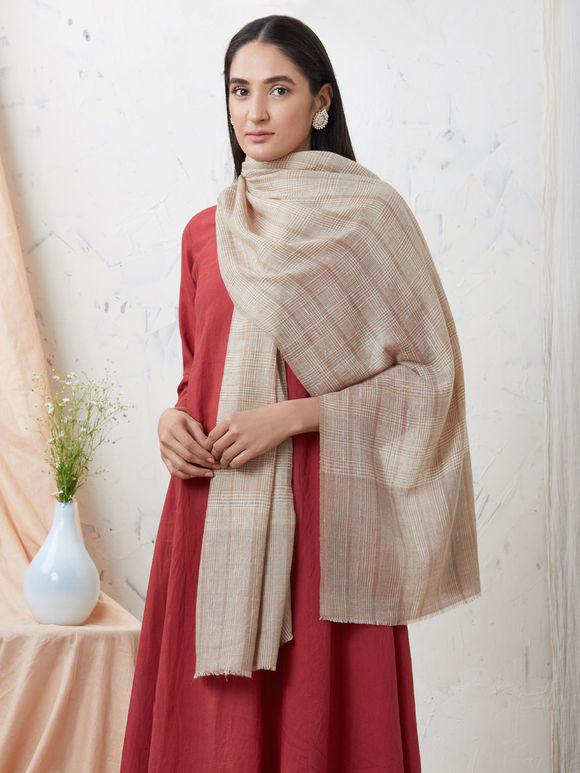 Brown Handwoven Cashmere Pashmina Stole