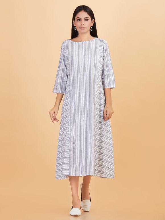 Grey Cotton Striped Dress