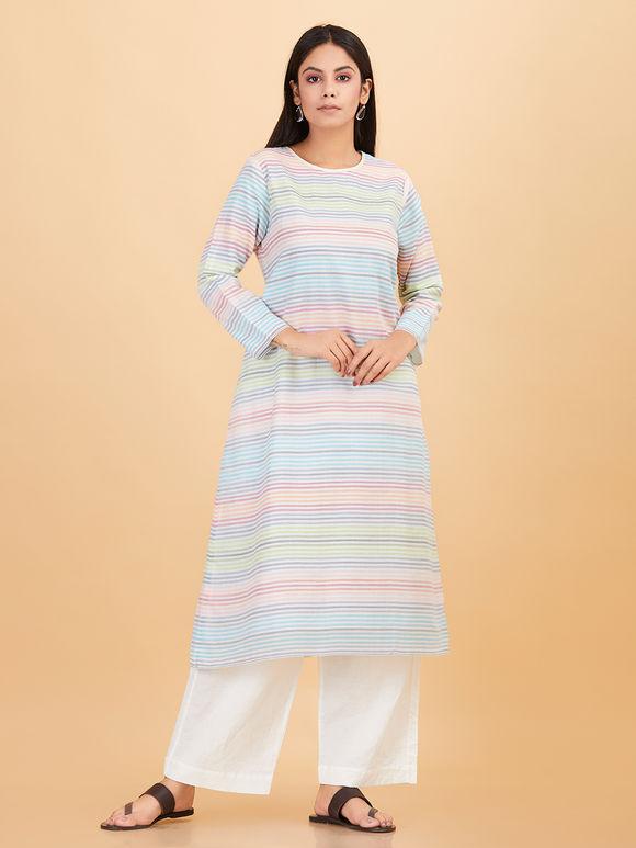 Multicolor Cotton Striped Kurta