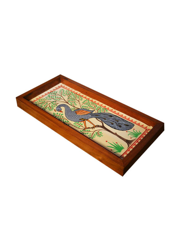 Multicolor Peacock Patachitra Hand Painted Teak Tray (Medium)