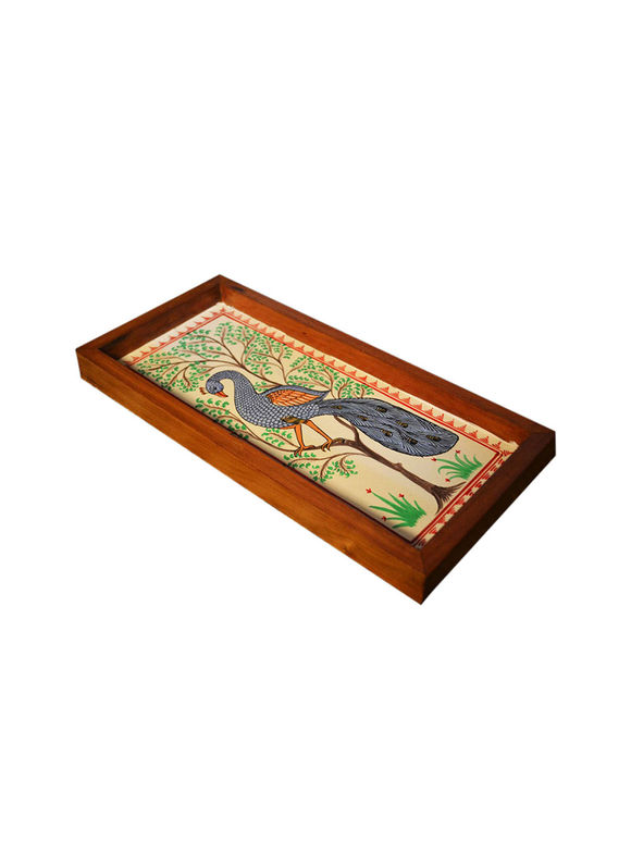 Multicolor Peacock Patachitra Hand Painted Teak Tray (Small)