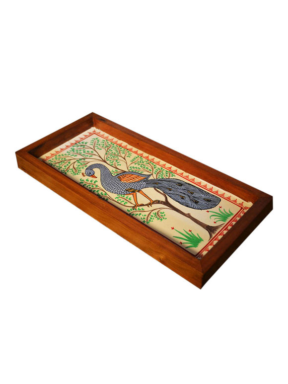 Multicolor Peacock Patachitra Hand Painted Teak Tray (Large)