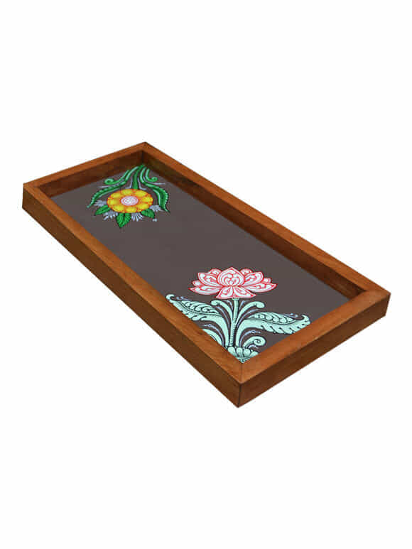 Brown Patachitra Hand Painted Wooden Tray (Large)