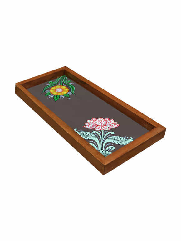 Brown Patachitra Hand Painted Wooden Tray (Medium)