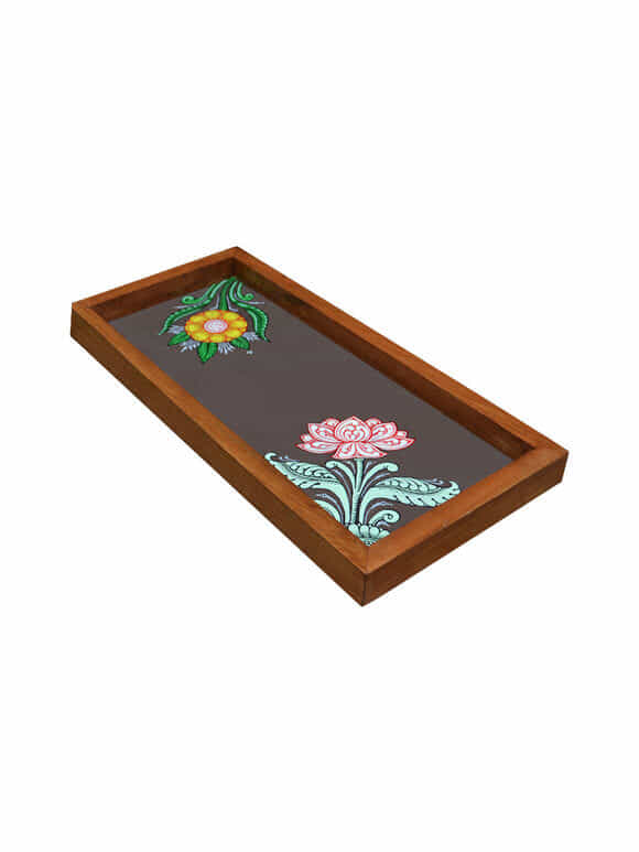 Brown Patachitra Hand Painted Wooden Tray (Small)