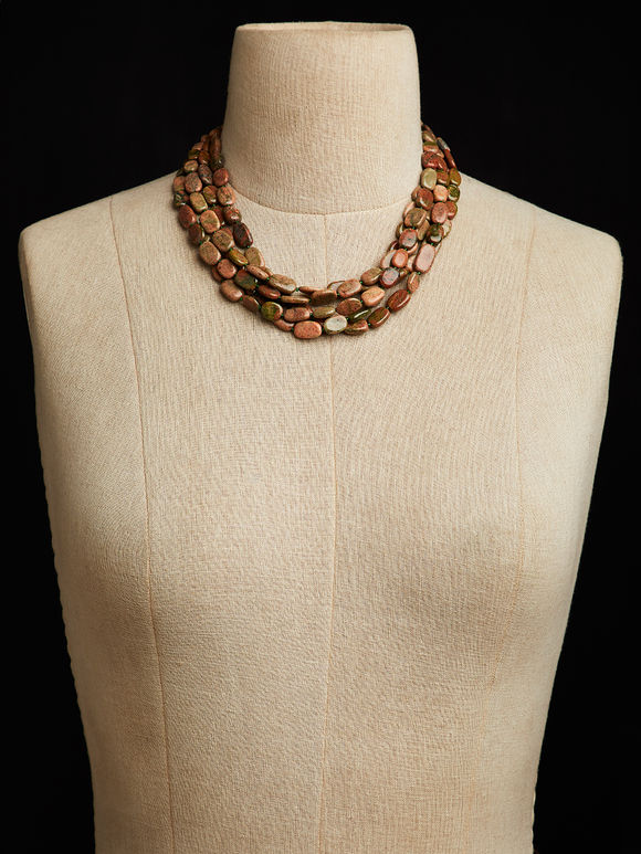Multicolor Unakite Bunch Necklace
