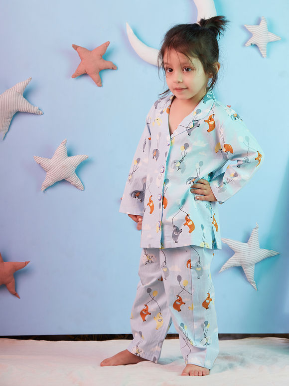 Grey Enchanting Elephant Printed Cotton Night Suit for Kids