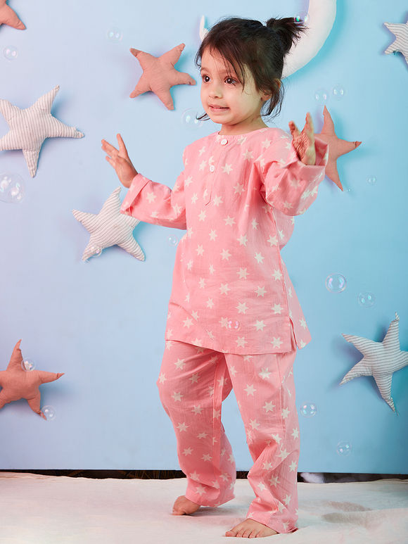 Pink Stars Printed Cotton Night Suit for Kids