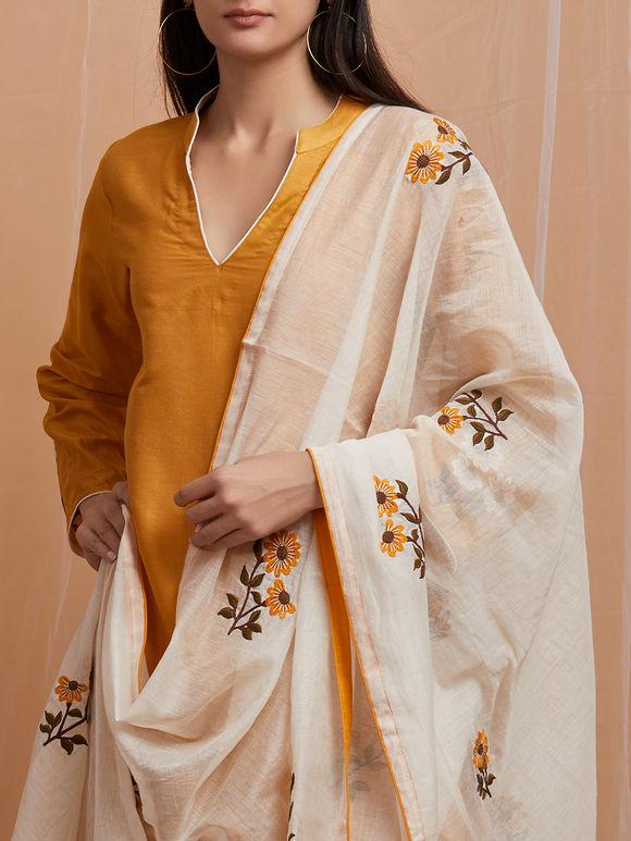 Mustard Yellow Embroidered Cotton Asymmetric Kurta with White Pants and Chanderi Dupatta - Set of 3