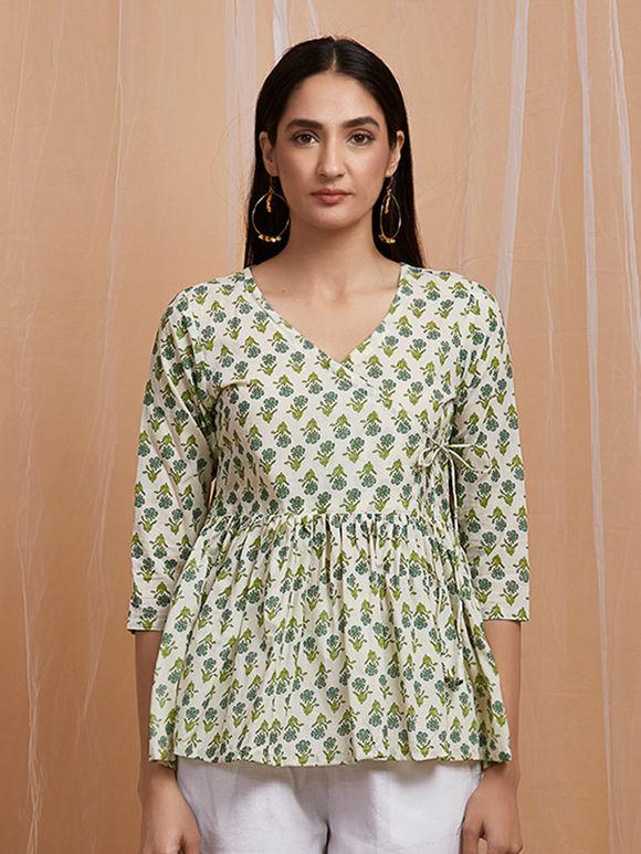 Green Mughal Printed Cotton Angrakha Top