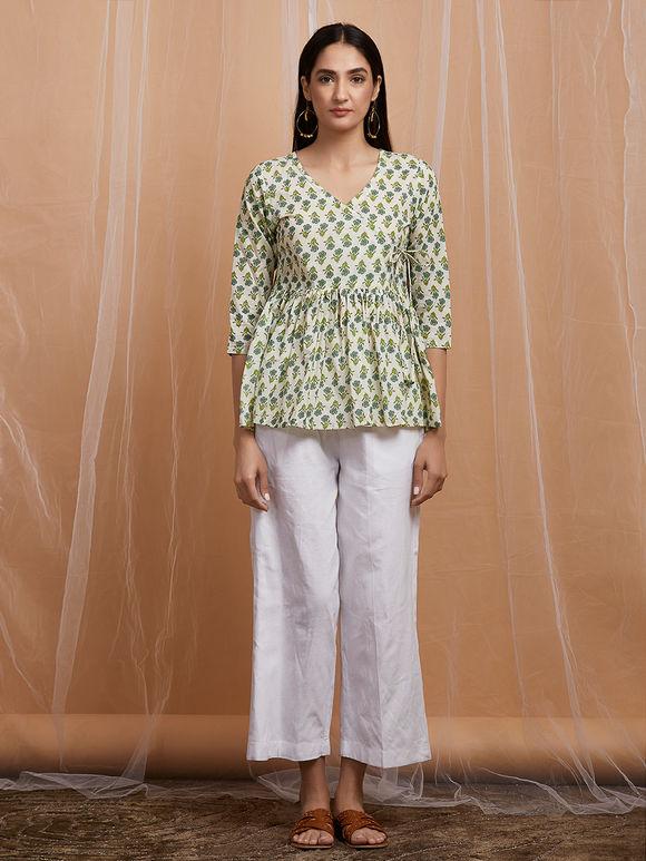 Green Mughal Printed Cotton Angrakha Top with White Pants - Set of 2