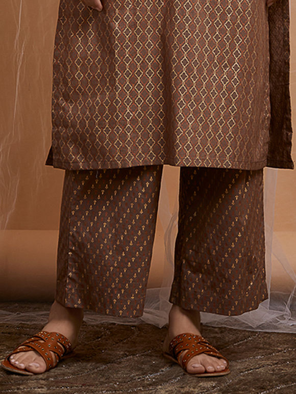 Brown Foil Printed Cotton Pants