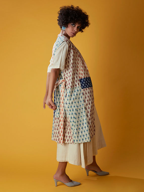 Multicolor Hand Block Printed Cotton Trench Jacket