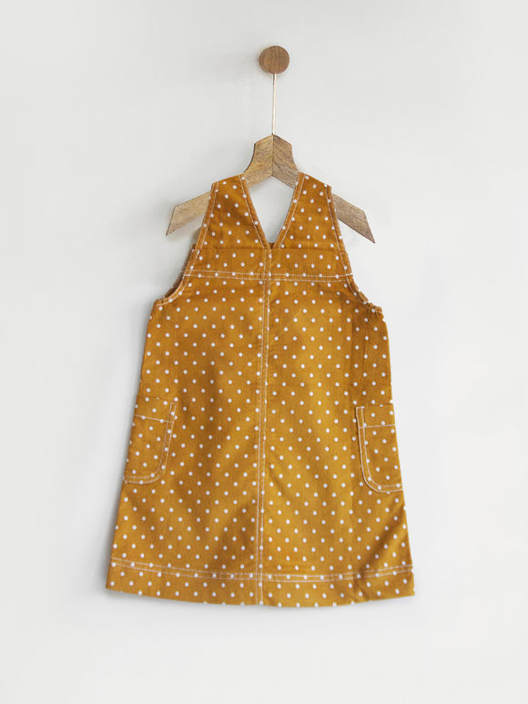 Mustard Yellow Polka Printed Cotton Dress