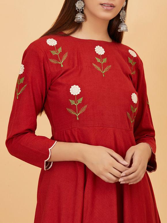 Red Embroidered Khadi Kurta with Pants - Set of 2