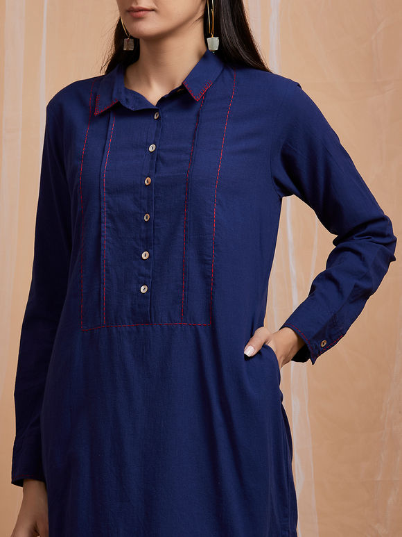 Navy Blue Embroidered Cotton Kurta with Pants - Set of 2