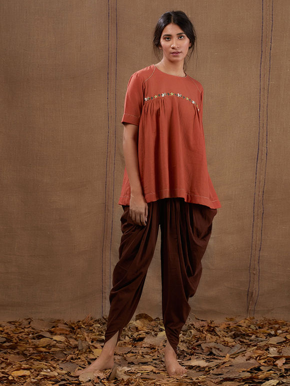 628d1d877 Rust Floral Embroidered Khadi Top with Brown Cotton Dhoti Pants - Set of 2