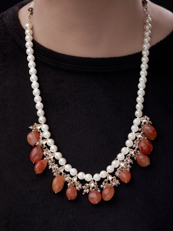 Orange White Pearls Kundan Necklace