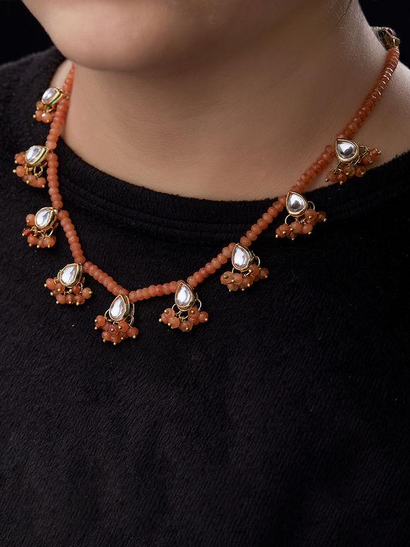 Orange Beads Kundan Necklace