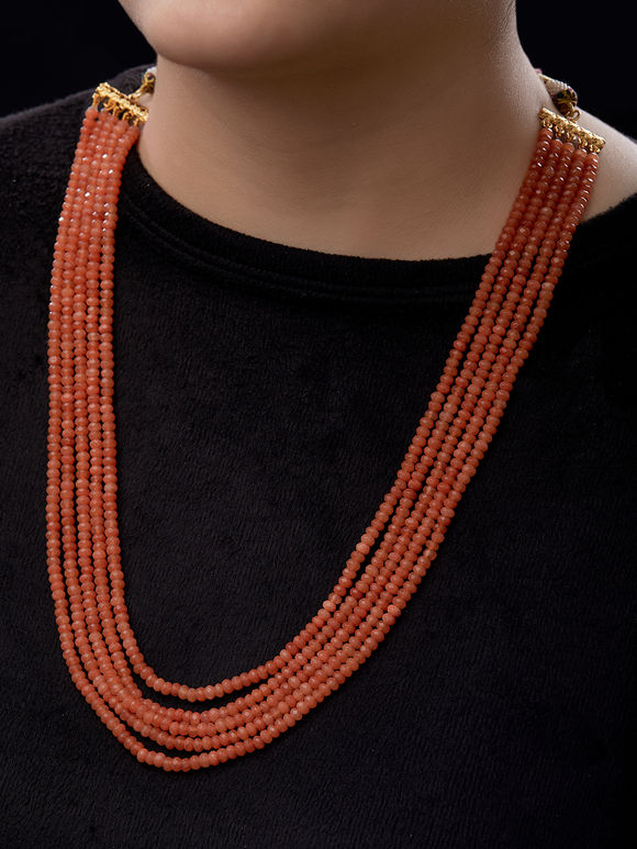Orange Beads Multistrand Necklace