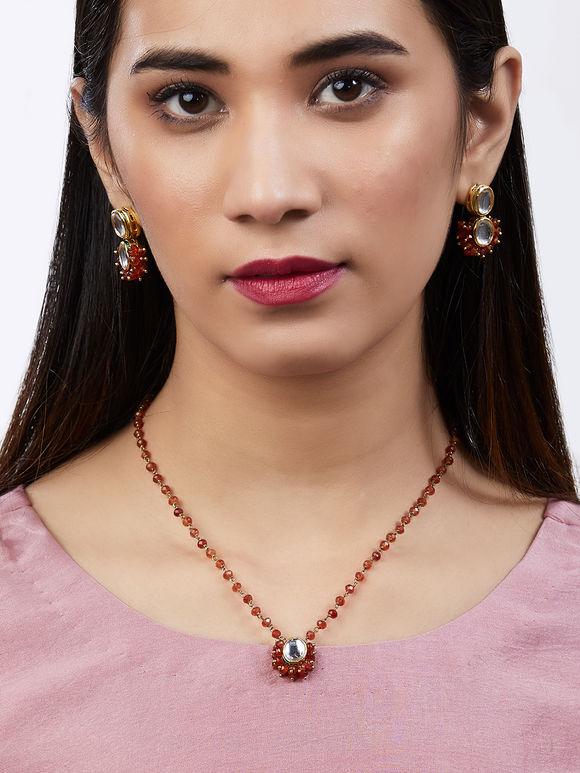 Orange Beads Kundan Necklace with Earrings - Set of 2