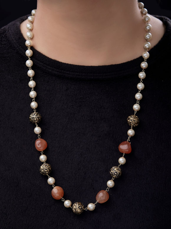 Orange White Beads Pearls Necklace