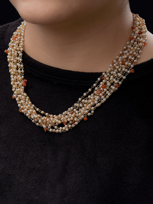 White Pearls Multistrand Necklace