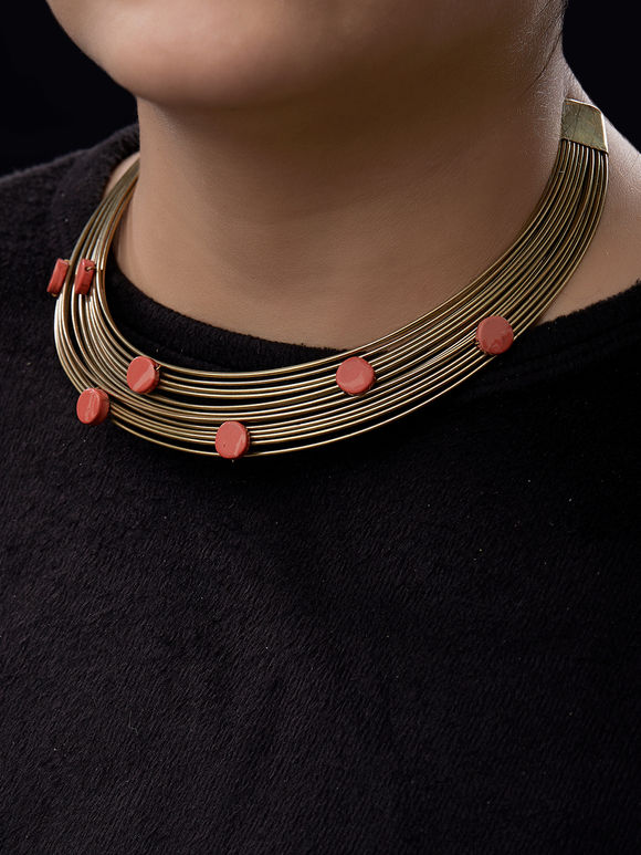 Gold Toned Metal Necklace