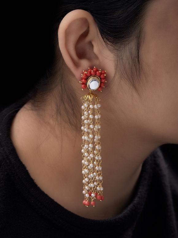 Orange Beads Kundan Metal Earrings