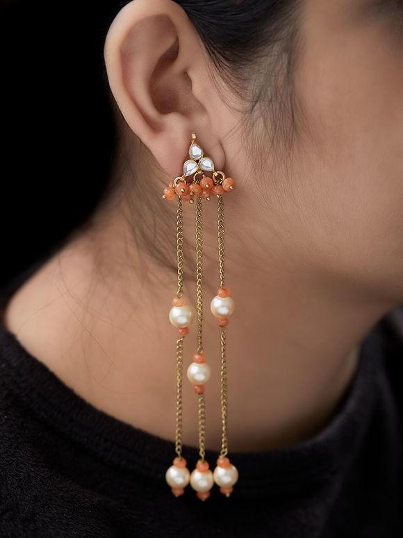 Orange Beads Metal Pearls Earrings