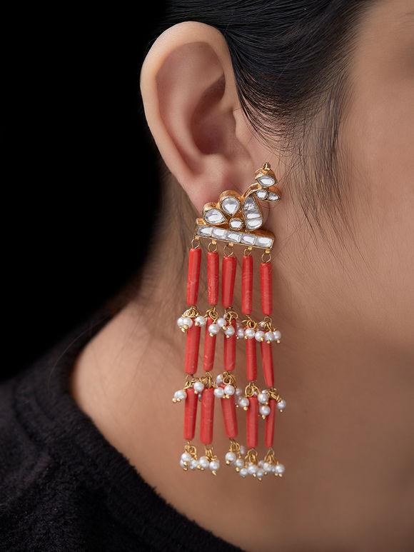 Orange Beads Metal Earrings