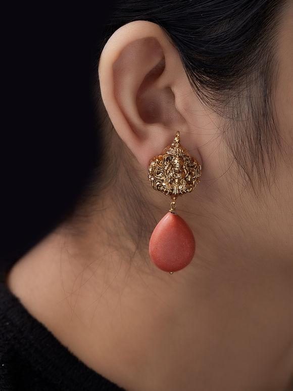 Orange Stud Metal Earrings